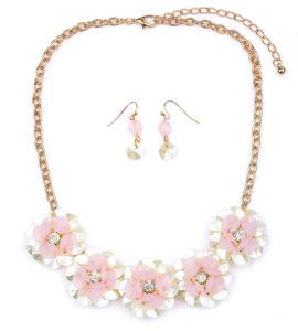 Pink Flower Necklace Set