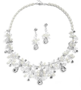 Necklace Set Crystals & Rice Pearls